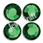 JEWELCRAFT'S CZECH GLASS TWO-CUT EXTRA BRILLIANT HOT FIX RHINESTONES IN SIZE 10ss (3mm)- SMARAGD